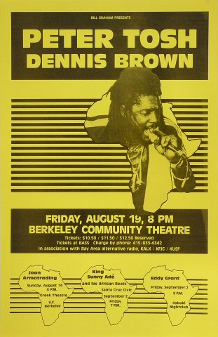 "Peter Tosh Poster from Berkeley Community Theatre on 19 Aug 83: 11"" x 17"""
