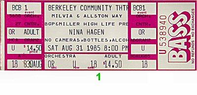 Nina Hagen 1980s Ticket from Berkeley Community Theatre on 31 Aug 85: Ticket One