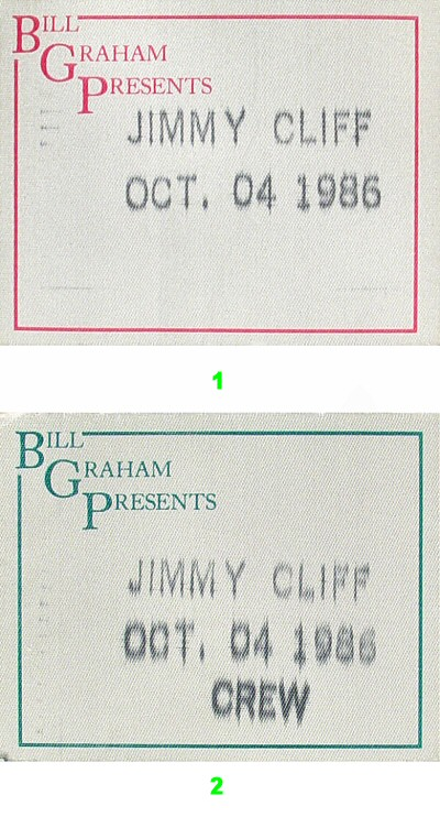 Jimmy Cliff Backstage Pass from Berkeley Community Theatre on 04 Oct 86: Pass 1