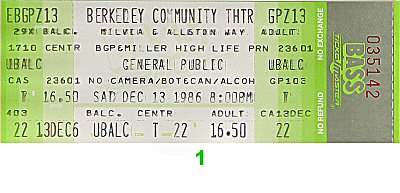 General Public 1980s Ticket from Berkeley Community Theatre on 13 Dec 86: Ticket One