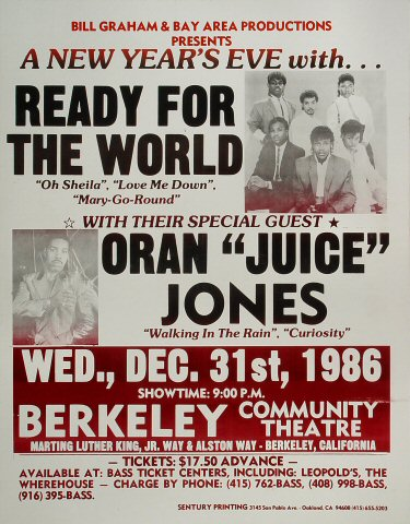 "Ready for the World Poster from Berkeley Community Theatre on 31 Dec 86: 17"" x 22"""