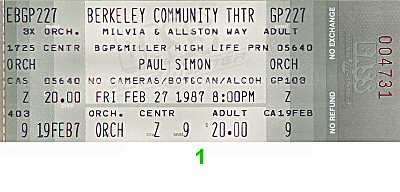 Paul Simon 1980s Ticket from Berkeley Community Theatre on 27 Feb 87: Ticket One