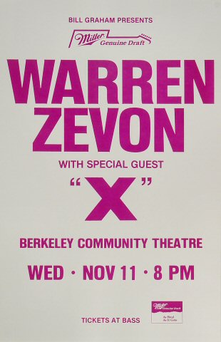 Warren Zevon Poster from Berkeley Community Theatre on 11 Nov 87: 11&quot; x 17&quot;