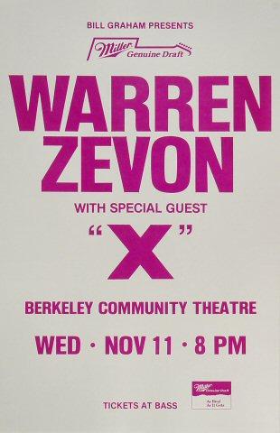 """Warren Zevon Poster from Berkeley Community Theatre on 11 Nov 87: 11"""" x 17"""""""
