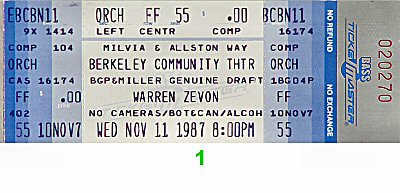 Warren Zevon 1980s Ticket from Berkeley Community Theatre on 11 Nov 87: Ticket One