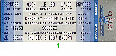 Squeeze 1980s Ticket from Berkeley Community Theatre on 03 Dec 87: Ticket One