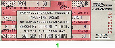 Tangerine Dream 1980s Ticket from Berkeley Community Theatre on 24 Sep 88: Ticket One