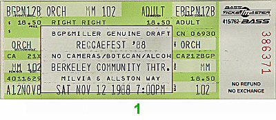 Aswad 1980s Ticket from Berkeley Community Theatre on 12 Nov 88: Ticket One
