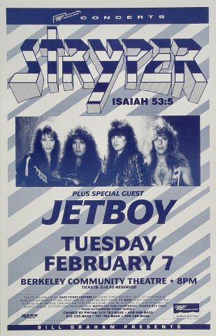 "Stryper Poster from Berkeley Community Theatre on 07 Feb 89: 11"" x 17"""