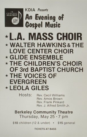 "L.A. Mass Choir Poster from Berkeley Community Theatre on 25 May 89: 14 1/8"" x 22"""