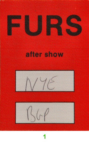 The Psychedelic Furs Backstage Pass from Berkeley Community Theatre on 31 Dec 89: Pass 1