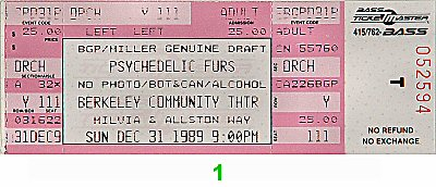 The Psychedelic Furs 1980s Ticket from Berkeley Community Theatre on 31 Dec 89: Ticket One