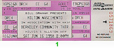 Milton Nascimento 1990s Ticket from Berkeley Community Theatre on 16 Jun 90: Ticket One