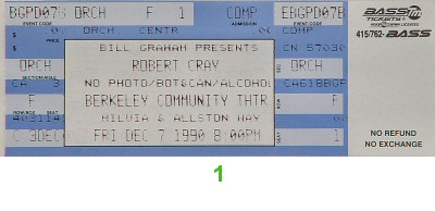 Robert Cray 1990s Ticket from Berkeley Community Theatre on 07 Dec 90: Ticket One