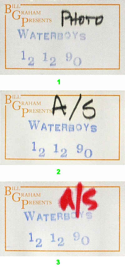 The Waterboys Backstage Pass from Berkeley Community Theatre on 12 Dec 90: Pass 2