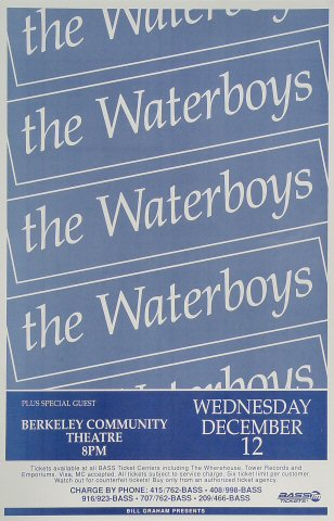 "The Waterboys Poster from Berkeley Community Theatre on 12 Dec 90: 11"" x 17"""