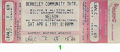 Nelson 1990s Ticket from Berkeley Community Theatre on 06 Apr 91: Ticket One