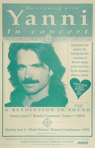 "Yanni Poster from Berkeley Community Theatre on 02 Jun 91: 11"" x 17"""