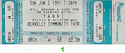 Yanni 1990s Ticket from Berkeley Community Theatre on 02 Jun 91: Ticket One