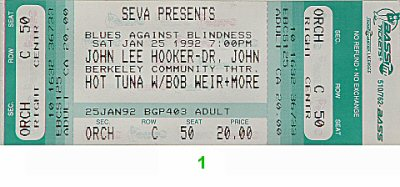 John Lee Hooker 1990s Ticket from Berkeley Community Theatre on 25 Jan 92: Ticket One