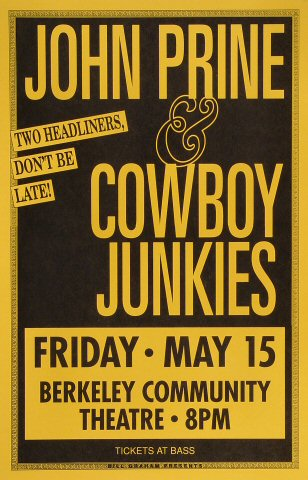"John Prine Poster from Berkeley Community Theatre on 15 May 92: 11"" x 17"""