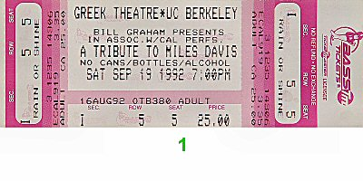 Herbie Hancock 1990s Ticket from Berkeley Community Theatre on 19 Sep 92: Ticket One