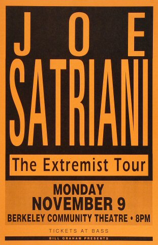 "Joe Satriani Poster from Berkeley Community Theatre on 09 Nov 92: 11"" x 17"""