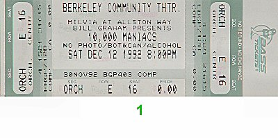 10,000 Maniacs 1990s Ticket from Berkeley Community Theatre on 12 Dec 92: Ticket One