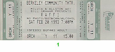 Raffi 1990s Ticket from Berkeley Community Theatre on 20 Feb 93: Ticket One