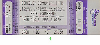 Pete Townshend 1990s Ticket from Berkeley Community Theatre on 02 Aug 93: Ticket One