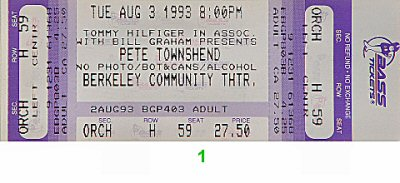 Pete Townshend 1990s Ticket from Berkeley Community Theatre on 03 Aug 93: Ticket One
