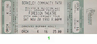 Firesign Theatre 1990s Ticket from Berkeley Community Theatre on 20 Nov 93: Ticket One