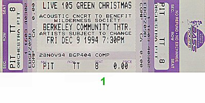 Hole 1990s Ticket from Berkeley Community Theatre on 09 Dec 94: Ticket One