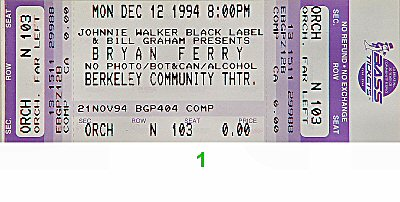 Bryan Ferry 1990s Ticket from Berkeley Community Theatre on 12 Dec 94: Ticket One