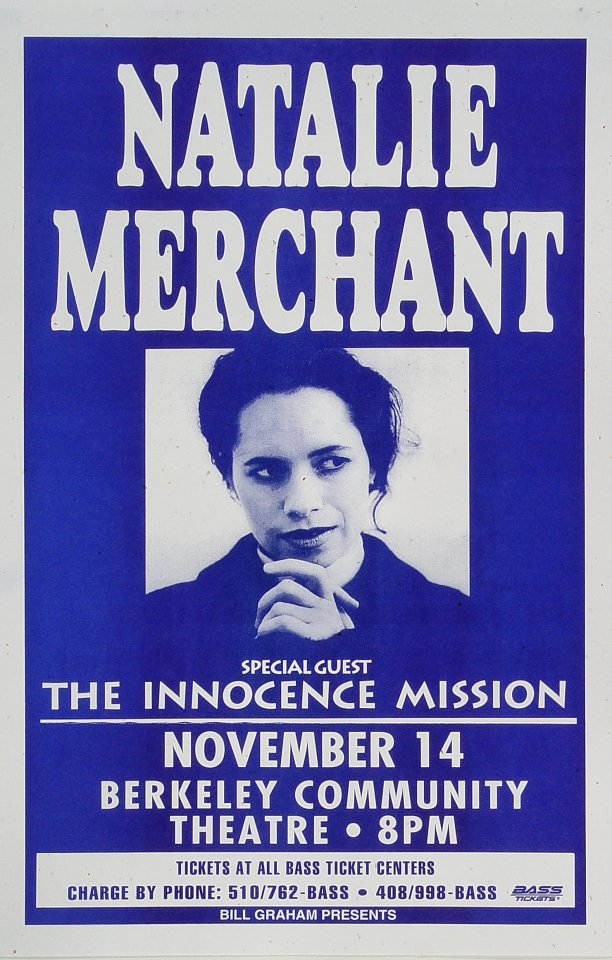 "Natalie Merchant Poster from Berkeley Community Theatre on 14 Nov 95: 11"" x 17"""