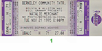 Natalie Merchant 1990s Ticket from Berkeley Community Theatre on 21 Nov 95: Ticket One