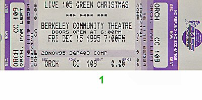 Garbage 1990s Ticket from Berkeley Community Theatre on 15 Dec 95: Ticket One