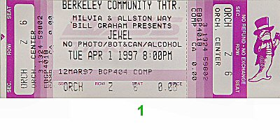 Jewel 1990s Ticket from Berkeley Community Theatre on 01 Apr 97: Ticket One