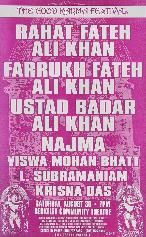 "Rahat Fateh Ali Khan Poster from Berkeley Community Theatre on 30 Aug 97: 11"" x 17"""