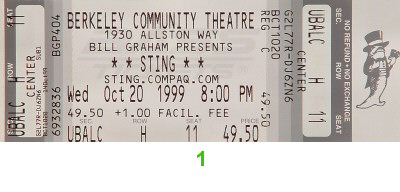 Sting 1990s Ticket from Berkeley Community Theatre on 20 Oct 99: Ticket One