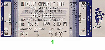 Chris Cornell 1990s Ticket from Berkeley Community Theatre on 30 Nov 99: Ticket One