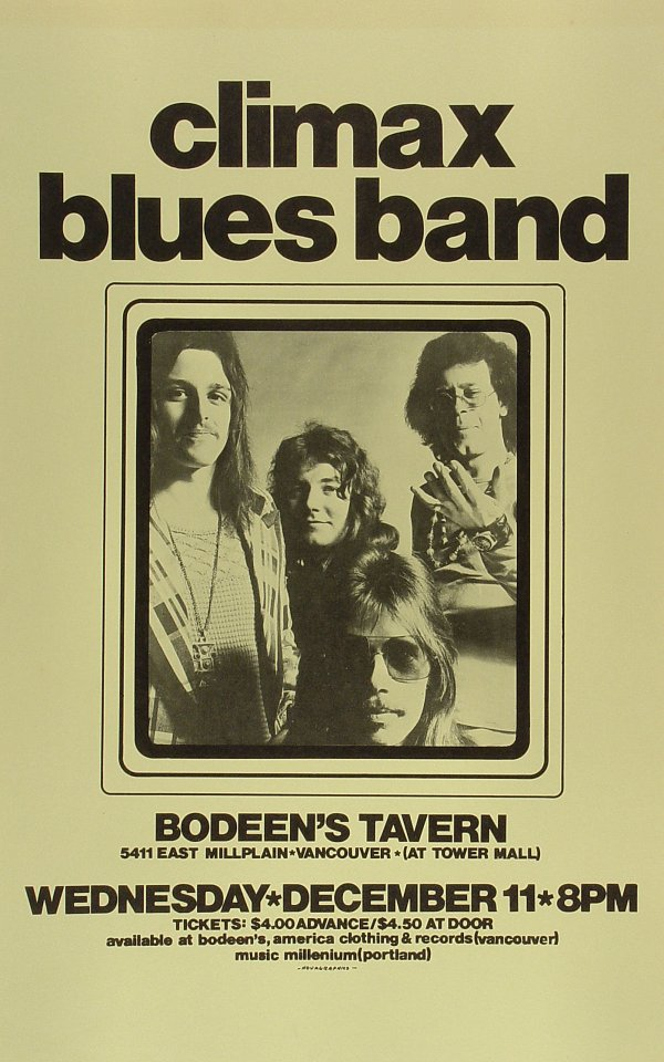 "Climax Blues Band Poster from Bodeen's Tavern on 11 Dec 74: 11"" x 17 1/2"""