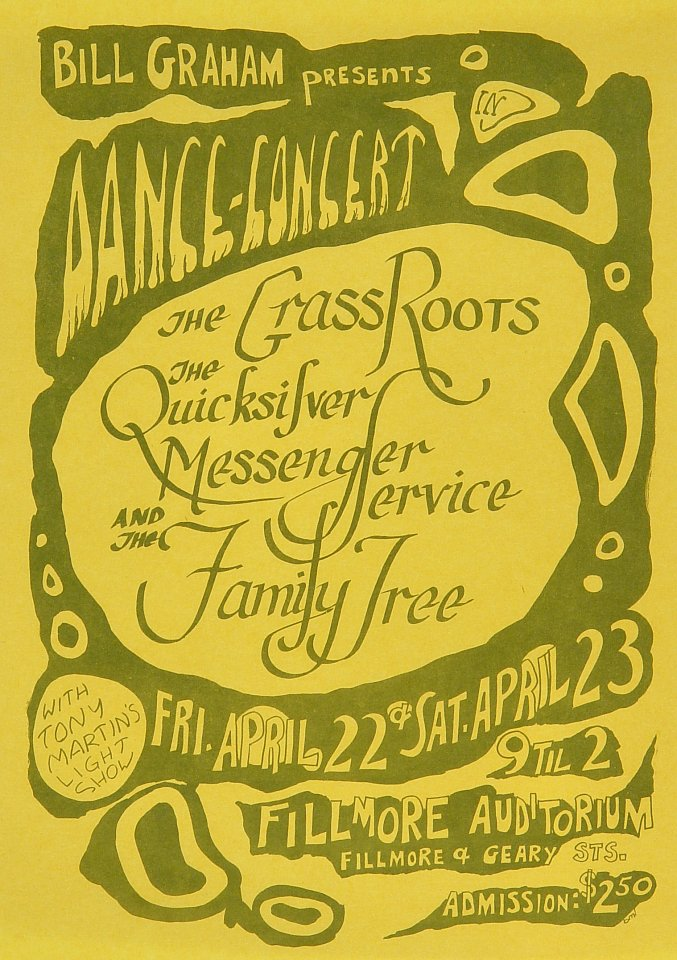 "The Grass Roots Handbill from Fillmore Auditorium on 22 Apr 66: 6 3/4"" x 9 1/2"""