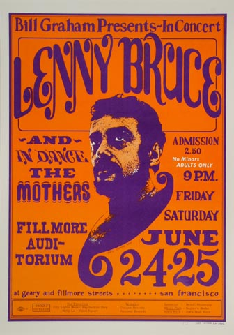 "Lenny Bruce Postcard from Fillmore Auditorium on 24 Jun 66: 5 1/16"" x 7 1/2"""