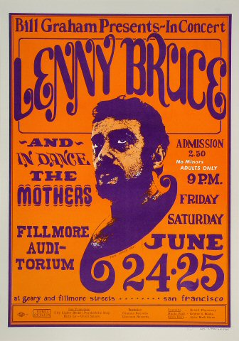 "Lenny Bruce Poster from Fillmore Auditorium on 24 Jun 66: 14"" x 20"""