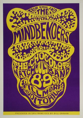 """The Mindbenders Postcard from Fillmore Auditorium on 08 Jul 66: 4 1/2"""" x 7 1/16"""""""