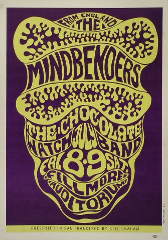 """The Mindbenders Poster from Fillmore Auditorium on 08 Jul 66: 14"""" x 20"""""""