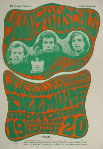 "The Young Rascals Postcard from Fillmore Auditorium on 19 Aug 66: 5 1/8"" x 8"""
