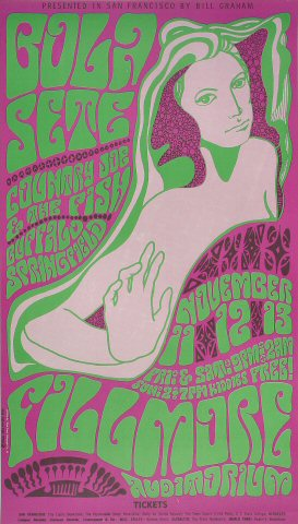 "Bola Sete Poster from Fillmore Auditorium on 11 Nov 66: 13 7/8"" x 24 5/8"""