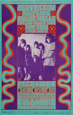 "Jefferson Airplane Poster from Fillmore Auditorium on 16 Dec 66: 14"" x 22"""